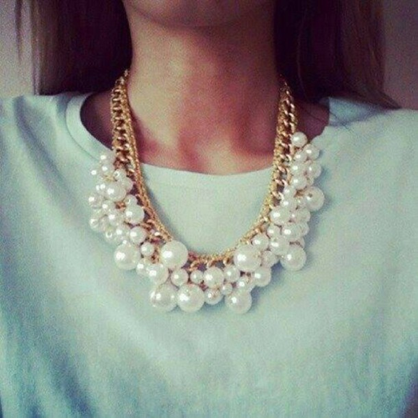 jewels white necklace gold perles