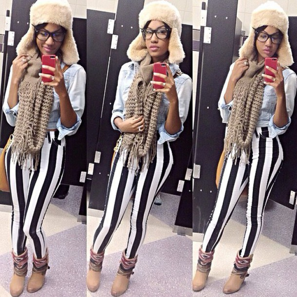 hat fur hat black and white striped pants
