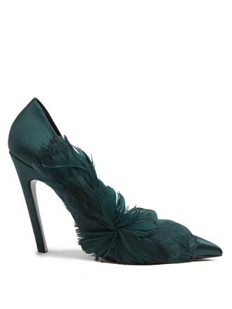 embellished pumps satin dark green shoes