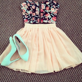 floral bustier roses floral chiffon skirt peach bustier bustier crop top tiffany blue mint heels stilettos shoes