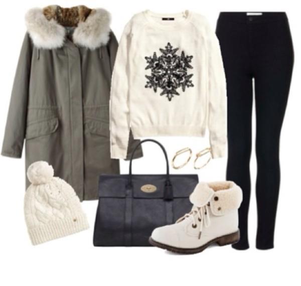 jacket sweater pants hat shoes