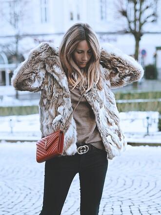 jacket tumblr fur jacket faux fur jacket beige jacket bag red bag crossbody bag denim jeans black jeans gucci gucci belt logo belt sweater beige sweater