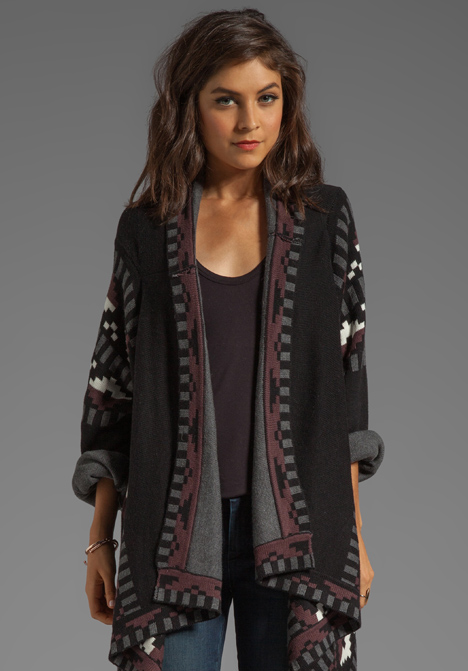 TWELFTH STREET BY CYNTHIA VINCENT Anniversary Blanket Sweater in Black Combo - Sweater Coats