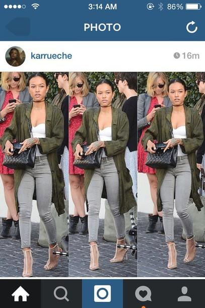 karrueche olive green shoes pants