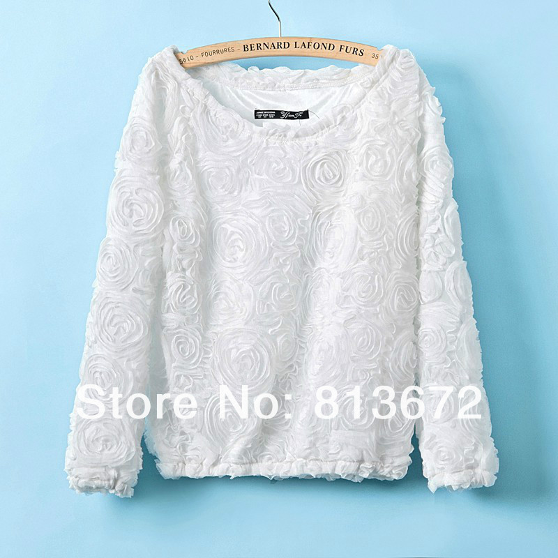 2013 new arrival Autumn 3D flower tops three dimensional rose pullover hoodies flower shirt free shipping-inBlouses & Shirts from Apparel & Accessories on Aliexpress.com