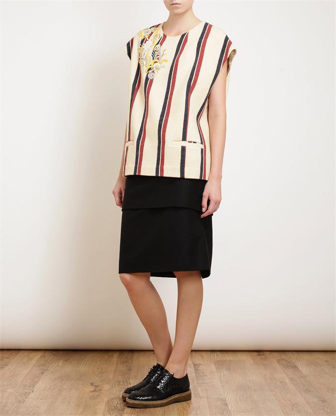 DRIES VAN NOTEN   Calama Striped Wool Embellished Top   Browns fashion & designer clothes & clothing