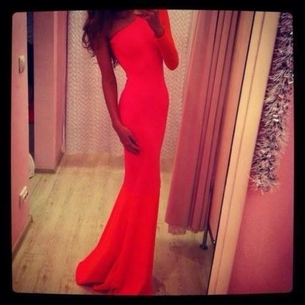 dress red long dress