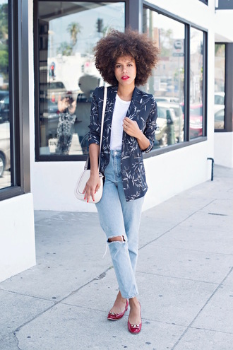 style me grasie blogger shoes jacket jeans t-shirt bag tory burch ripped jeans blazer printed blazer white top blue jeans white bag shoulder bag curly hair flats red flats spring outfits
