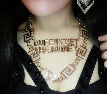 Livraison gratuite, celebrity style punk rihanna bijoux queens obtenir l'argent lettre link chaînes collier
