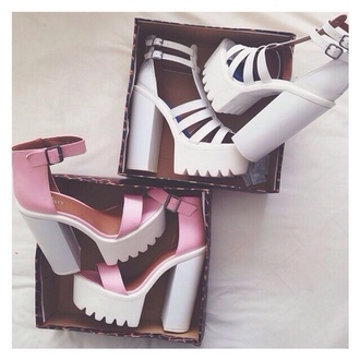 pink shoes white shoes cleated sole cleated sole platforms high heels pink high heels grunge accessory grunge shoes platform shoes platform high heels heels pink heels white heels soft grunge white sandals pink cleated platform sandals. pink white cute wedges pretty platform sandals sandals all colors metallic high heel