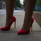 Roxanne red suede pump heel