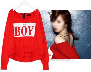 New HYUNA Bubble Pop! BOY Loose Zipper Back Sweatshirt Crew Neck Red KPOP  ($42.00) - Svpply
