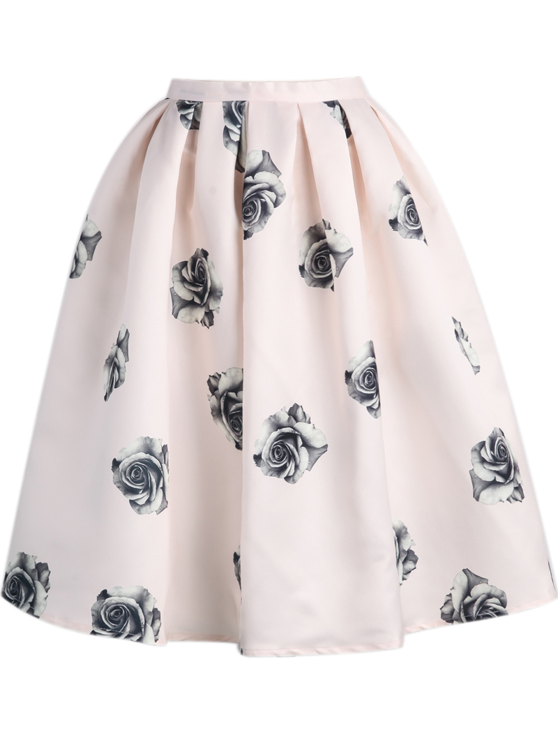 Pink Rose Print Flare Skirt - Sheinside.com