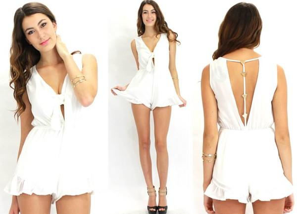 white dress v neck dress plunge v neck open back dresses romper jumpsuit