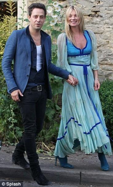 kate moss jamie hince blue dress dress