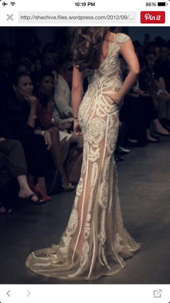 dress nude lace