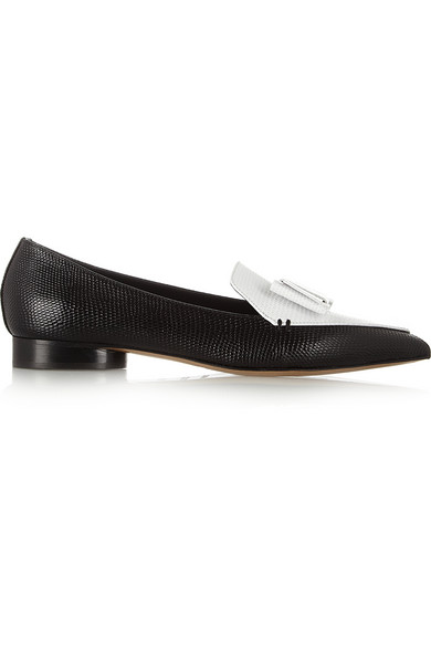 Nicholas Kirkwood|  Erdem two-tone leather point-toe flats|NET-A-PORTER.COM