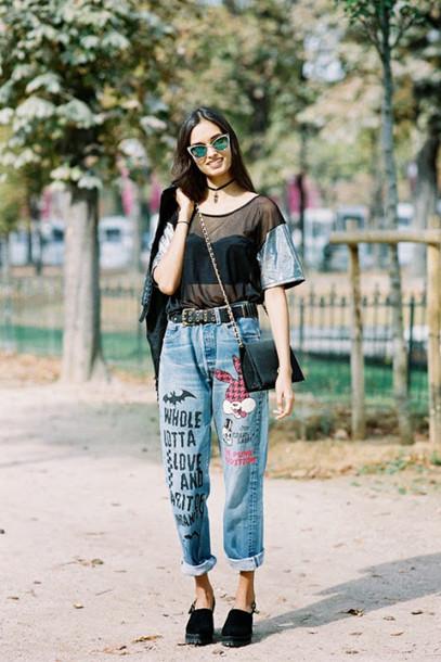 vanessa jackman blogger mesh mom jeans cat eye jeans top t-shirt streetstyle embellished denim mesh top