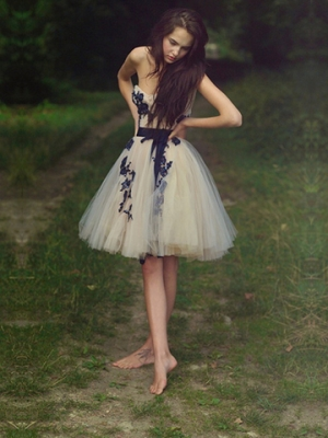 Buy Fascinating  Appliques Ball Gown Sweetheart Mini Prom Dress with Sash under 200-SinoAnt.com