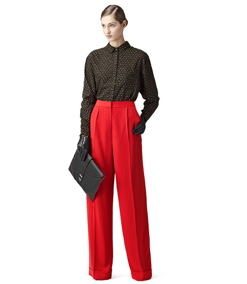 Daria Red Wide Leg Trousers - REISS