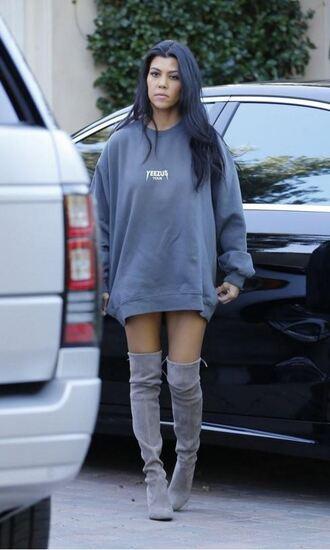 sweater boots over the knee boots kourtney kardashian grey oversized sweater sweatshirt shoes