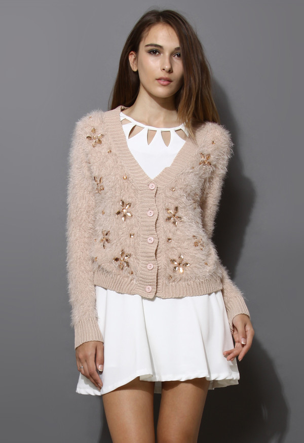 sweater floral beaded fluffy knit pink cardigan