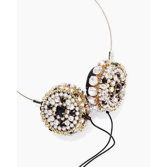 earphones nastygal skinnydip bling headphones dj zara martin gold chain rhinestones all black and gold wishlist