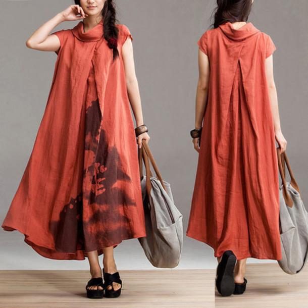 dress maxi dress orange dress
