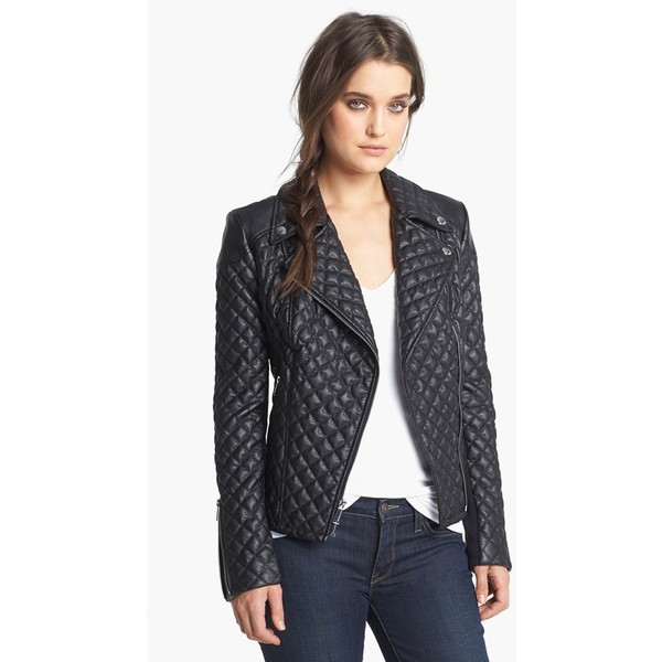 BCBGeneration Quilted Faux Leather Moto Jacket - Polyvore