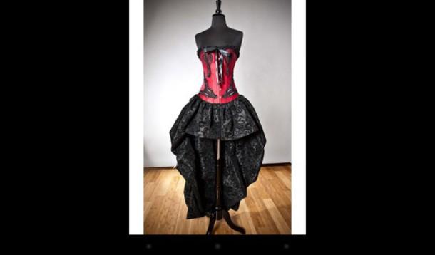 dress red and black hi lo dresses red corset dress black dress red dress gothic dress gothic high-low dresses emo emo dress punk dress punk lace dress ruffle dress goth