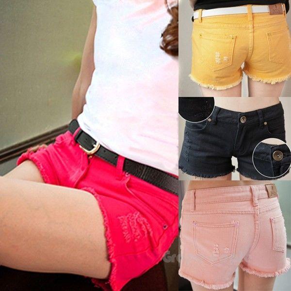 KDQ25 Stunning Women Candy Colored Tassels Hole Denim Shorts WF 4247 | eBay