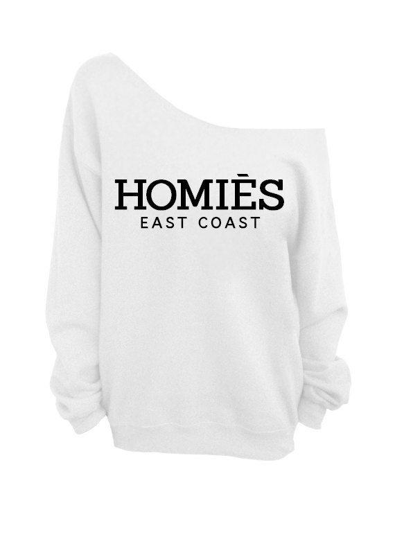 Homies East Coast White Slouchy Over Sized Off Shoulder Sweatshirt | eBay
