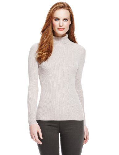 M&S Collection Polo Neck Ribbed Jumper-Marks & Spencer