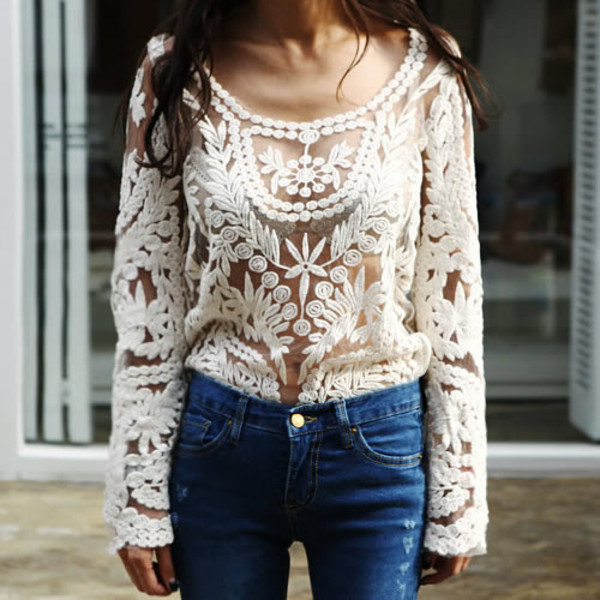 shirt lookbook store lace lace top crochet top crochet white white lace top white crochet top white lace shirt sheer blouse
