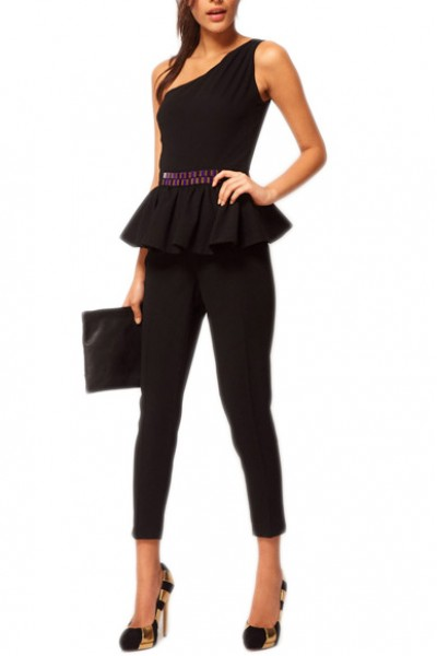 KCLOTH One Shoulder Design with Ruffle Detailed Beads Jumpsuit