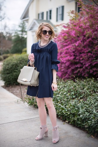 something delightful blogger dress jewels shoes sunglasses bag navy dress mini dress handbag ankle boots