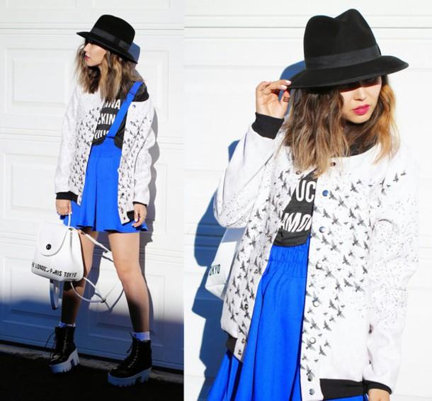 different cands blogger jacket blue skirt fedora birds skirt hat