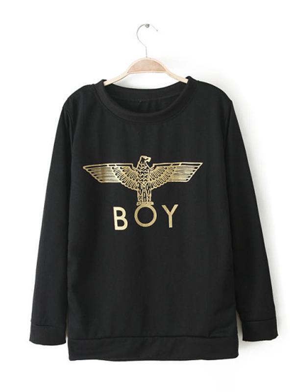 Straight Round Neck Long Sleeve Stylish Sweatshirt : KissChic.com