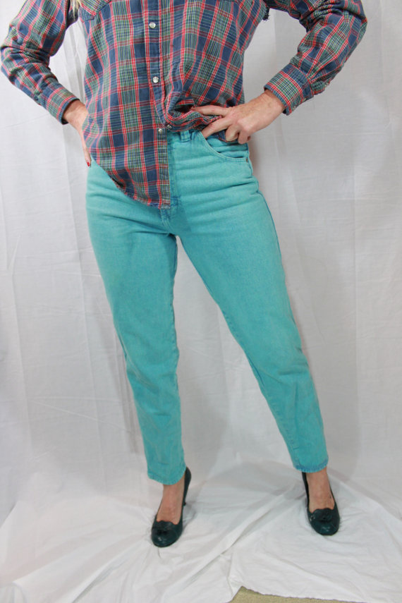 80s Wrangler Jeans Womens turquoise jeans van myswagshack op Etsy