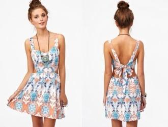 dress mini dress bohemian dress bohemian pink blue dress owl cute dress jewels