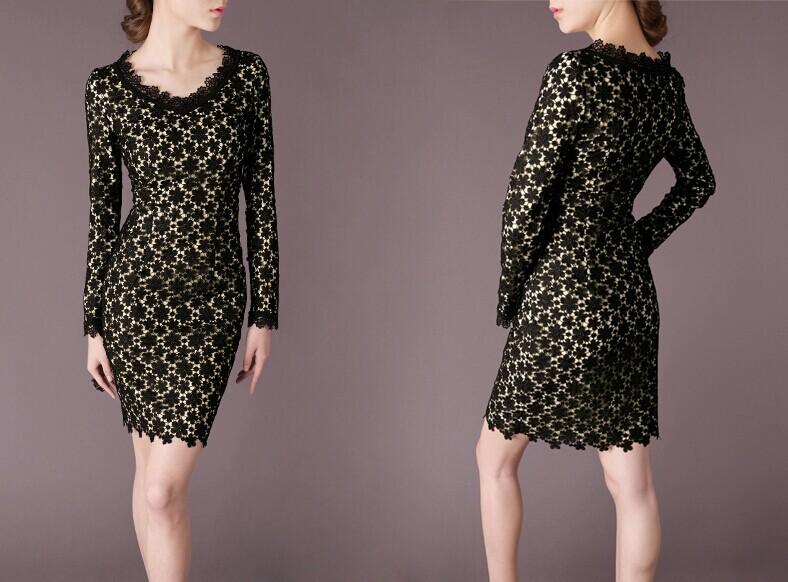 Black Lace Elegant Noble Summer OL Women Fashion Dress lml7094 - ott-123 - Global Online Shopping for Dresses