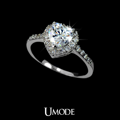 White Gold plated Heart Shaped Cubic Zirconia with micro CZs Cluster Setting Engagement Ring (Umode UR0008B)-in Rings from Jewelry on Aliexpress.com