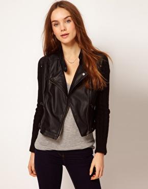 A Wear | A Wear Knit Sleeve Leather Look Biker Jacket at ASOS