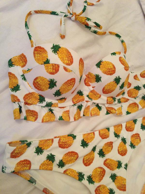 swimwear yelloe pinapples bathing suit top swimwear