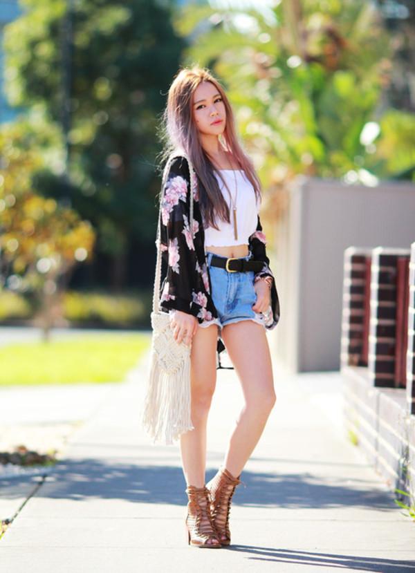 chloe ting blouse shoes shorts belt bag jewels t-shirt