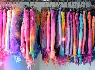 shorts tie dye shorts high waisted shorts high waisted bikini colorful shorts tie dye rainbow colorful rips galaxy print shoes