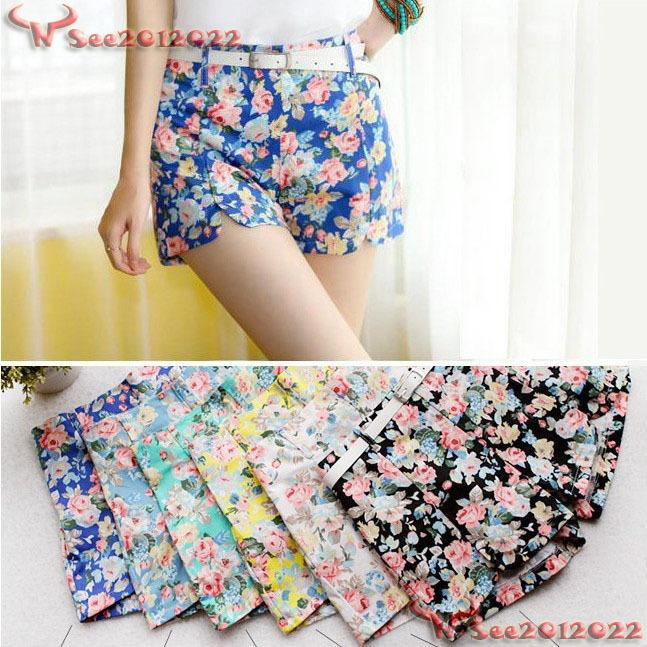 Women's Blooming Flowers Floral Print High Elastic Waist Shorts Mini Short Pants | eBay