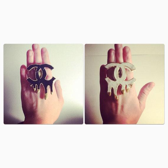 Hand painted Fabulous Melting Chanel Dripping CC Logo Ring Rock Star / celeb Style on Wanelo