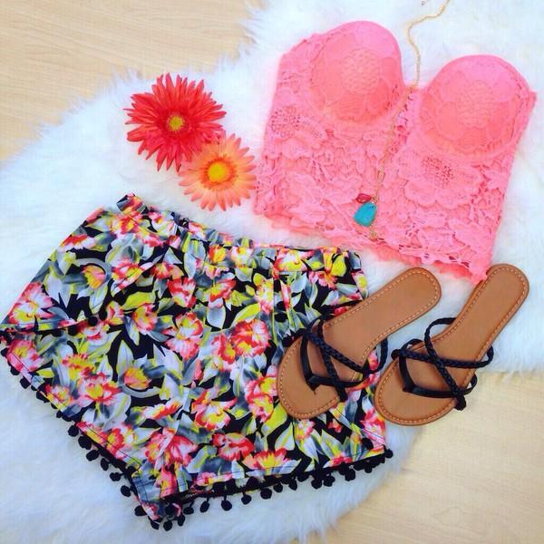 shorts pom pom shorts tropical bright bright black cute bright top shoes pom poms dress