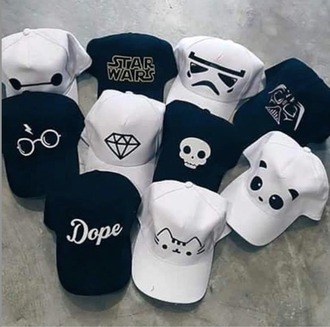 hat star wars panda harry potter diamonds skull hipster baseball cap
